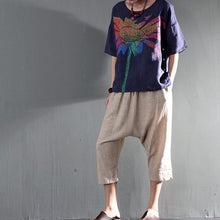 Load image into Gallery viewer, the Burning flower women summer t shirt navy short top linen blouse