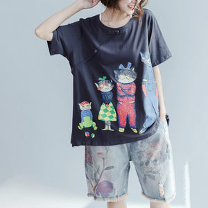 the happy cat family Gray cotton shirts plus size woman summer oversize blouses cotton tops