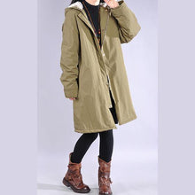 Load image into Gallery viewer, thick army green winter parkas plus size clothing snow jackets hooded zippered coats