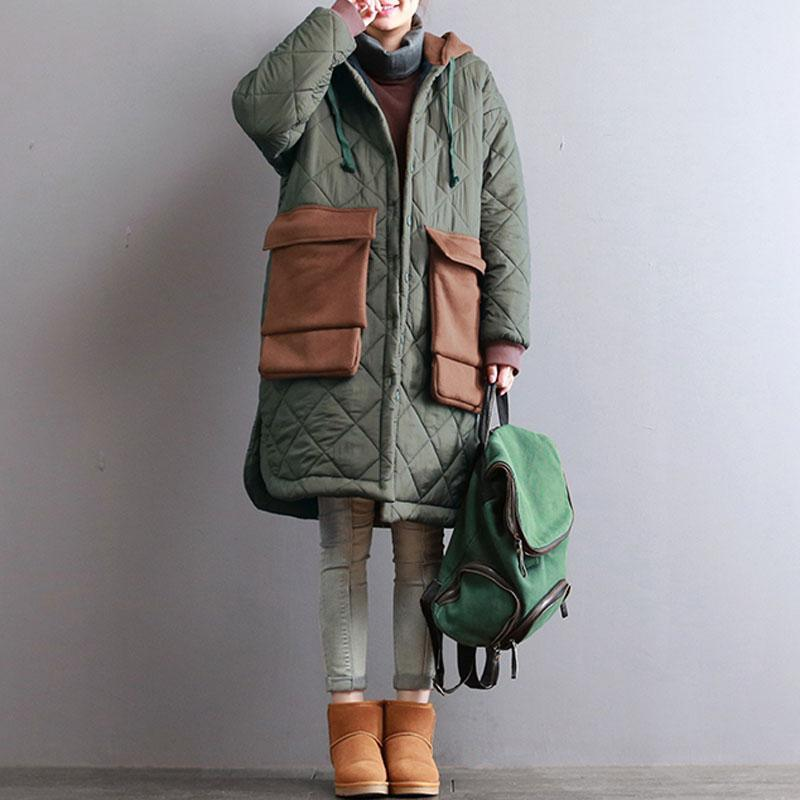thick army green women oversized hooded drawstring Coats top quality patchwork Large pockets winter coats