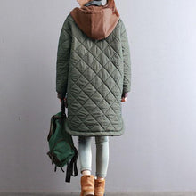 Load image into Gallery viewer, thick army green women oversized hooded drawstring Coats top quality patchwork Large pockets winter coats
