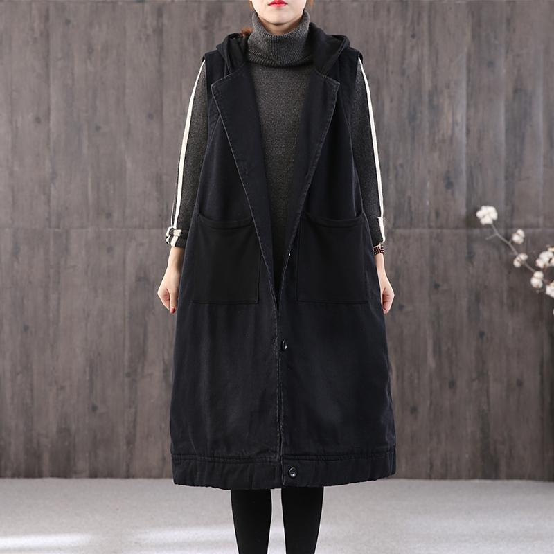 thick black Parkas plus size clothing Coats hooded pockets sleeveless coat