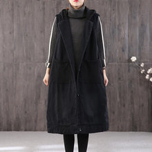 Load image into Gallery viewer, thick black Parkas plus size clothing Coats hooded pockets sleeveless coat
