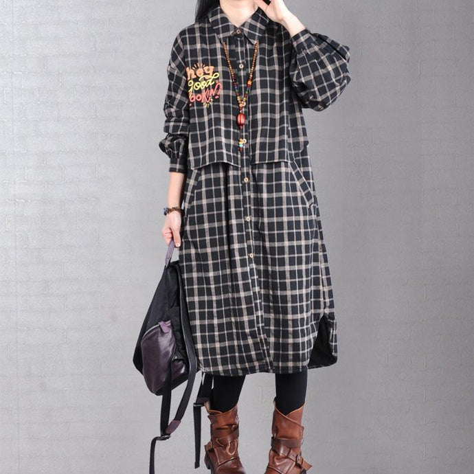 thick black plaid women parka casual jacket lapel patchwork outwear