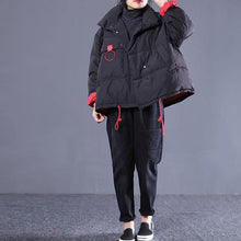 Load image into Gallery viewer, thick black plus size clothing stand collar quilted coat Elegant drawstring pockets down coat