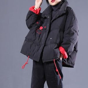thick black plus size clothing stand collar quilted coat Elegant drawstring pockets down coat