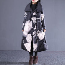 Load image into Gallery viewer, thick black print down jacket plus size stand collar down overcoat Casual pockets zippered long down coats