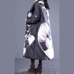 thick black print down jacket plus size stand collar down overcoat Casual pockets zippered long down coats