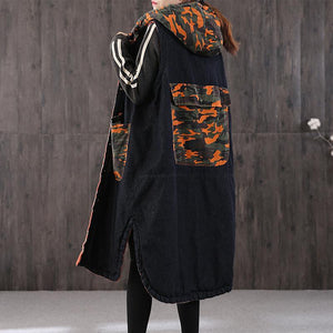 thick denim black Parkas for women oversize warm winter coat winter coats patchwork camouflage