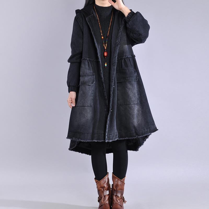 thick denim black womens coats plussize Jackets & Coats winter asymmetric winter coats