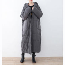 Load image into Gallery viewer, thick gray down coat plus size hooded pockets down jacket top quality zippered baggy long coats