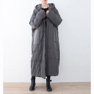 thick gray down coat plus size hooded pockets down jacket top quality zippered baggy long coats