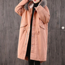 Load image into Gallery viewer, thick light orange women parka plus size outwear faux fur collar pockets