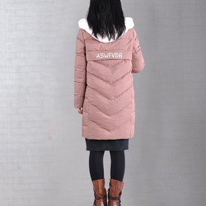 thick pink winter outwear trendy plus size warm winter coat winter hooded overcoat