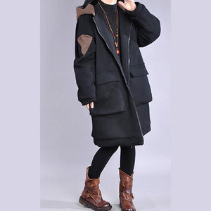 thick plus size down jacket overcoat chocolate hooded zippered women parka