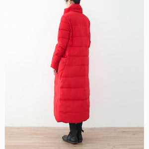 thick red quilted coat oversize stand collar down coat Elegant pockets overcoat