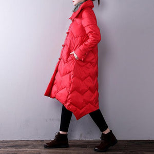 thick red women Loose fitting lapel warm winter coat YZ-2018111441