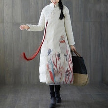 Load image into Gallery viewer, thick white print down coat plus size stand collar patchwork Casual Chinese Button down coat