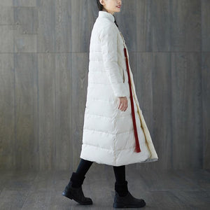 thick white print down coat plus size stand collar patchwork Casual Chinese Button down coat