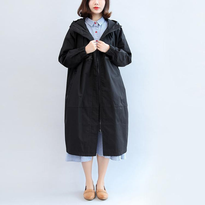 thick black Parka casual Parka New hooded cardigan