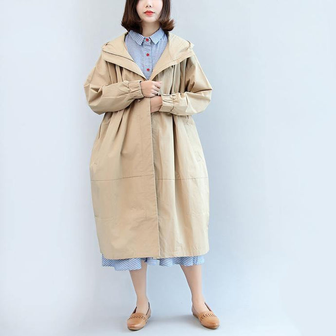 thick khaki cotton coat oversize Parka Casual hooded cardigans