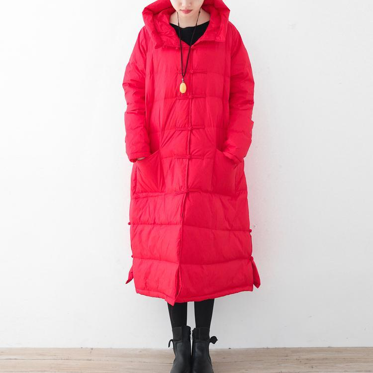 thick red winter parka oversized down jacket thick hooded winter outwear Chinese Button