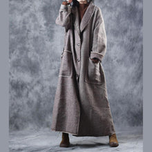 Load image into Gallery viewer, top quality Plaid woolen coats casual Turn-down Collar long coat New tie waist pockets trench coat