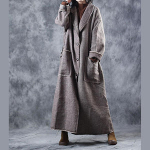 top quality Plaid woolen coats casual Turn-down Collar long coat New tie waist pockets trench coat