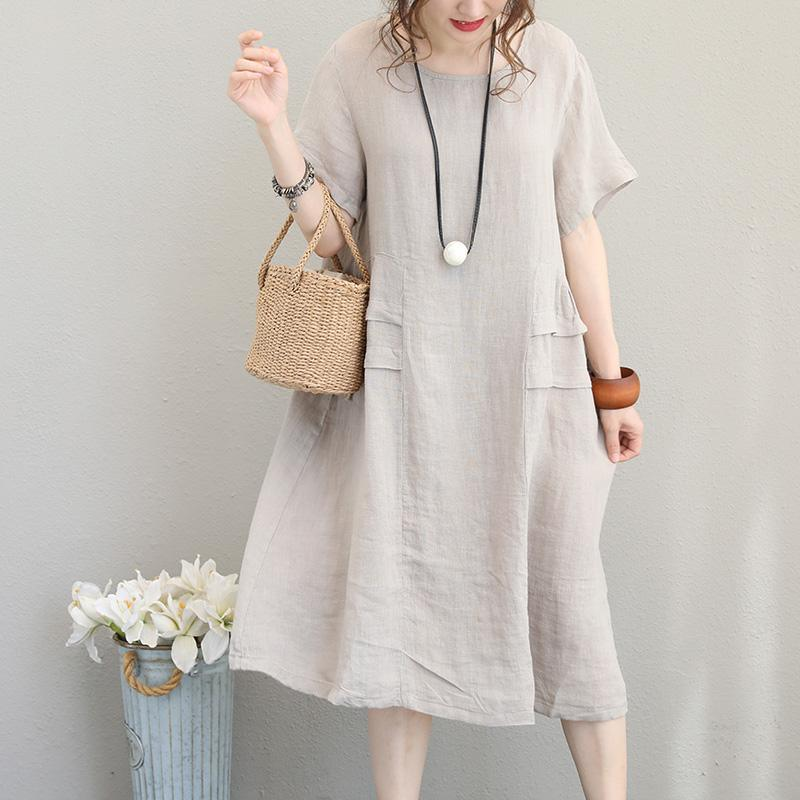 top quality beige linen dresses plus size o neck linen maxi dress top quality short sleeve patchwork maxi dresses