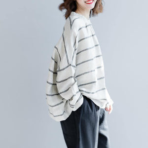 top quality beige striped linen pullover Loose fitting casual cardigans women back open o neck cotton tops
