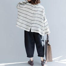 Load image into Gallery viewer, top quality beige striped linen pullover Loose fitting casual cardigans women back open o neck cotton tops