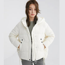 Load image into Gallery viewer, top quality beige white duck down coat plus size side tie snow jackets hooded winter outwear