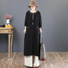 Load image into Gallery viewer, top quality black 2018 fall dress plus size clothing embroidery traveling clothing Fine pockets gown