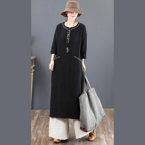 top quality black 2018 fall dress plus size clothing embroidery traveling clothing Fine pockets gown