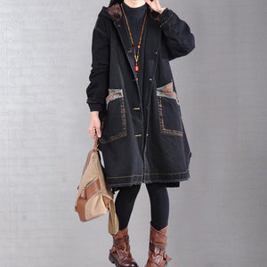 top quality black casual outfit Loose fitting warm winter coat hooded alphabet prints overcoat