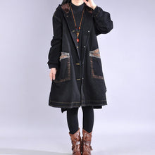Load image into Gallery viewer, top quality black casual outfit Loose fitting warm winter coat hooded alphabet prints overcoat