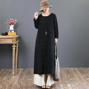 top quality black cotton caftans oversize o neck traveling dress Fine long sleeve cotton caftans