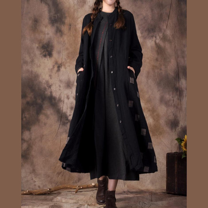 top quality black cotton linen coat oversized stand collar pockets spring coat