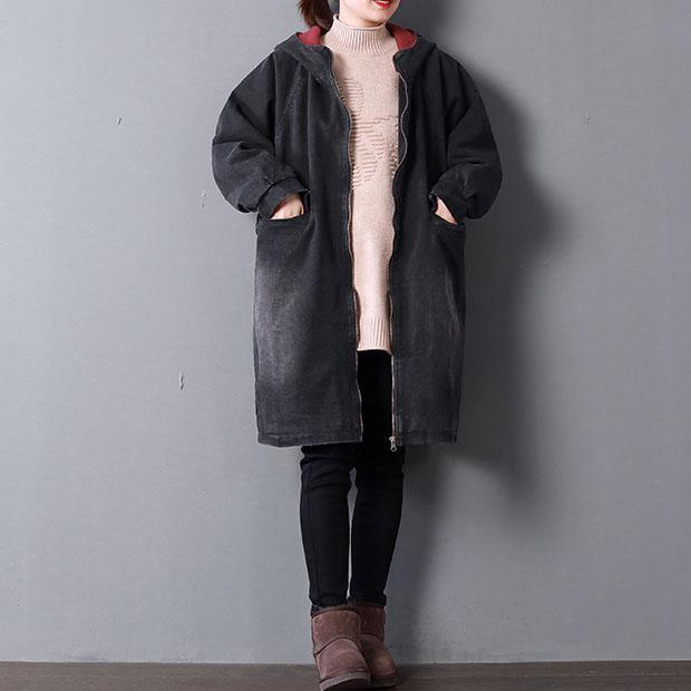top quality black denim parkas Loose fitting hooded Elegant pockets zippered winter coats