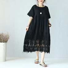 Load image into Gallery viewer, top quality black linen dress Loose fitting O neck linen clothing dresses Elegant short sleeve baggy dresses