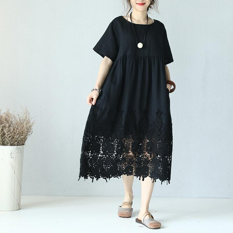 top quality black linen dress Loose fitting O neck linen clothing dresses Elegant short sleeve baggy dresses