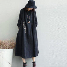 Load image into Gallery viewer, top quality black long linen dresses plus size Jacquard fall dresses Elegant Appliques