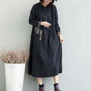 top quality black long linen dresses plus size Jacquard fall dresses Elegant Appliques
