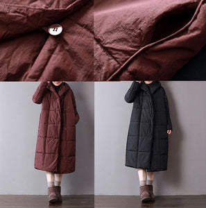 top quality black parkas plus size clothing hooded warm winter coat Fine pockets Button coats