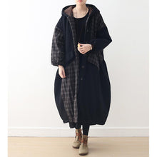 Load image into Gallery viewer, top quality black patchwork Plaid women Loose fitting hooded Coats thick Batwing Sleeve pockets winter cotton outwear