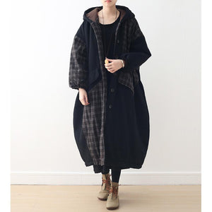 top quality black patchwork Plaid women Loose fitting hooded Coats thick Batwing Sleeve pockets winter cotton outwear