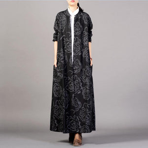 top quality black print coats plus size trench coat stand collar pockets outwear
