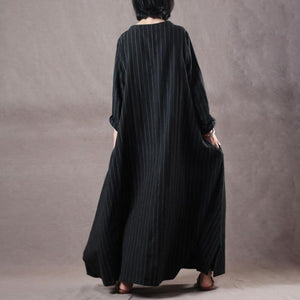top quality black striped long linen dress oversized o neck traveling clothing 2018 side open caftans