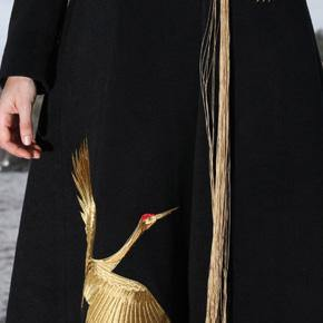 top quality black wool coat plus size Winter coat V neck mbroidery tassel coat