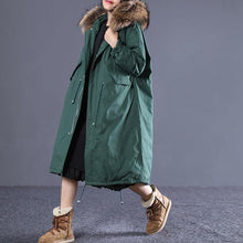 Laden Sie das Bild in den Galerie-Viewer, top quality blackish green down overcoat plus size clothing hooded fur collar quilted coat New drawstring pockets winter outwear